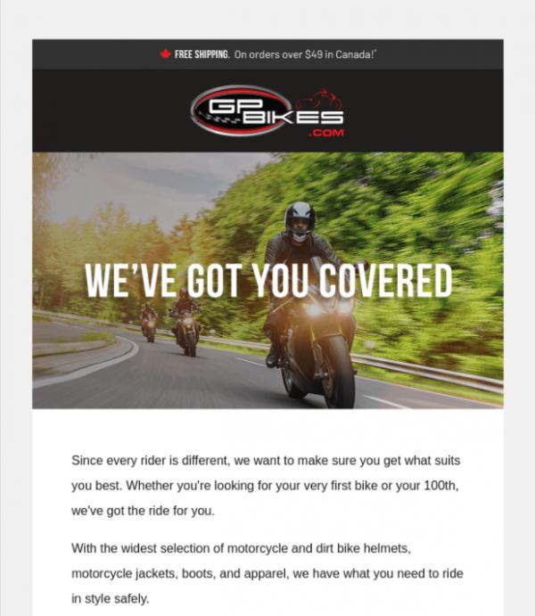 newsletter subject line example GP Bikes