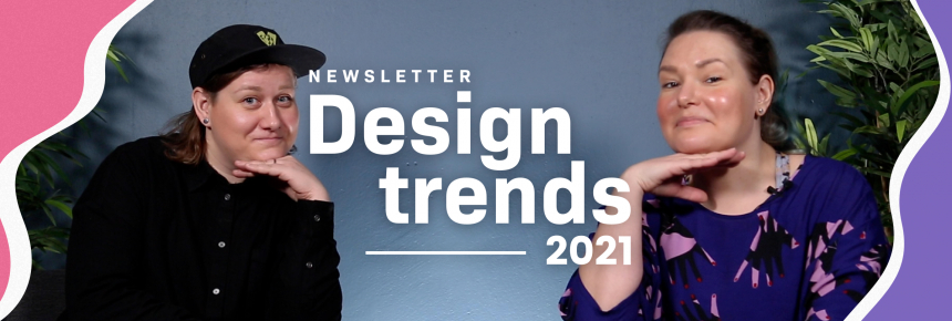 Edi and Fanni pose for the newsletter design tips video