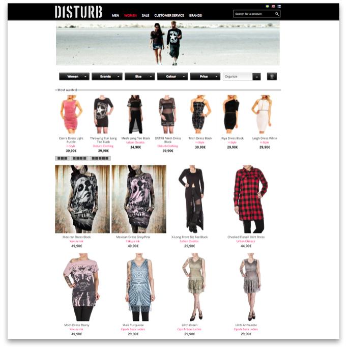 Der Disturb Online Shop ist ruhig und klar gestaltet