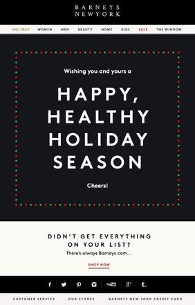 Der Barneys New York Newsletter passt sich unterschiedlichen Festtagstraditionen an.