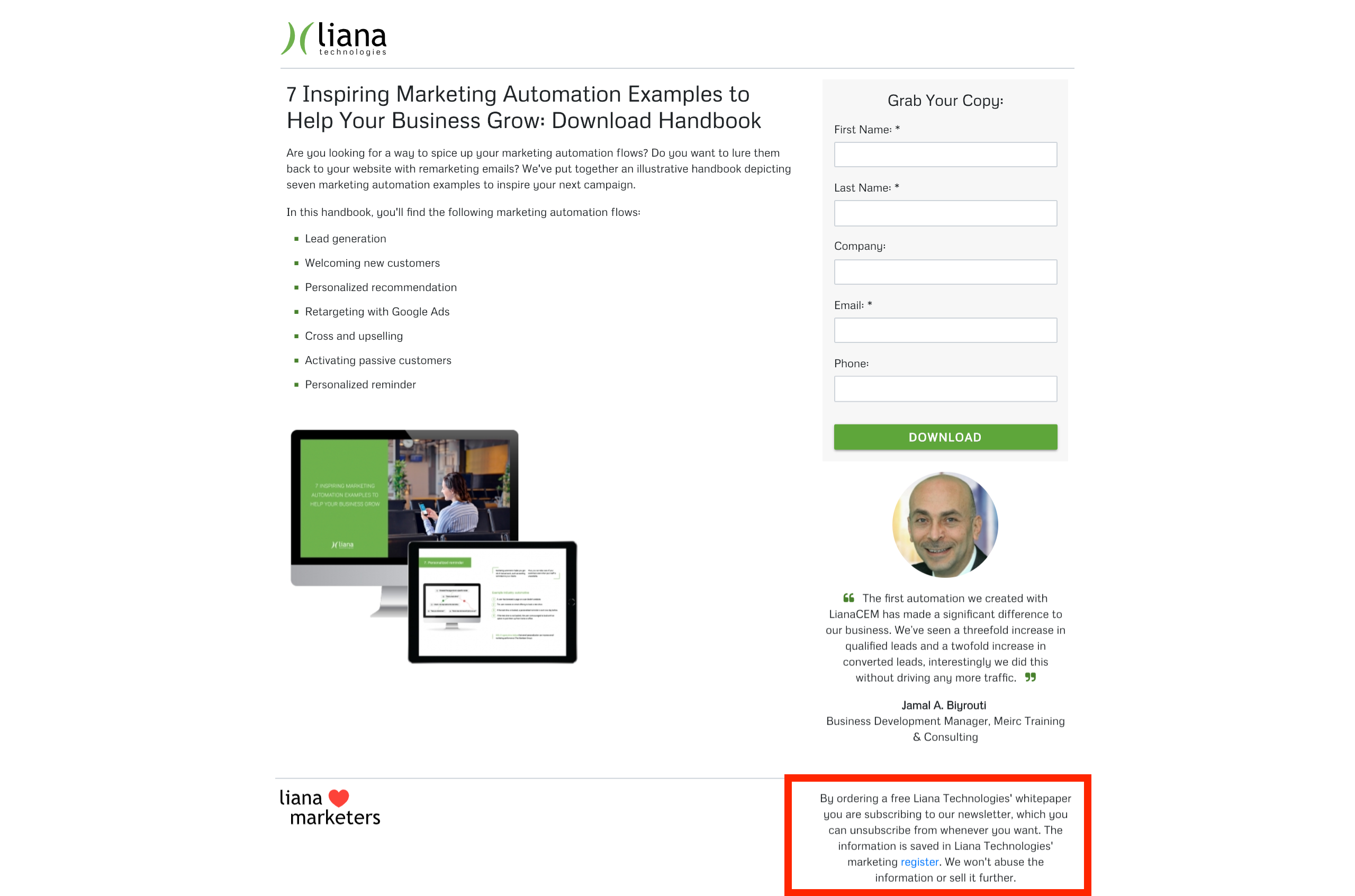 Transparente Landing Page