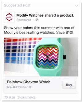 Es ist leicht, Produkte über Facebook zu kaufen