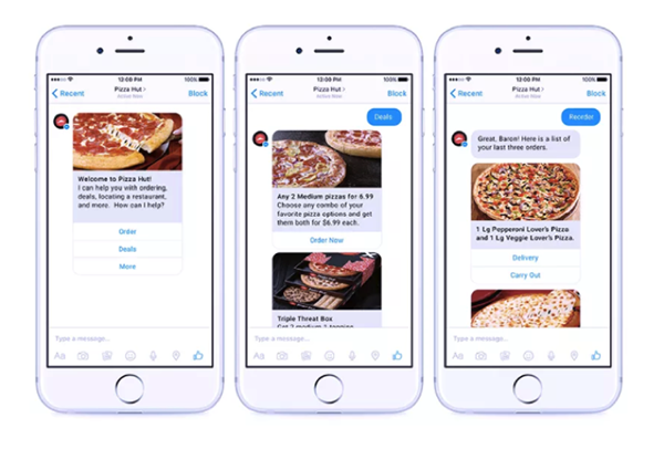 One of the top digital marketing trends for 2018 is chatbots. Here's a chatbot for ordering pizza by PizzaHut